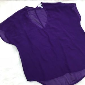 14th and Union Purple Sheer Blouse Size Large